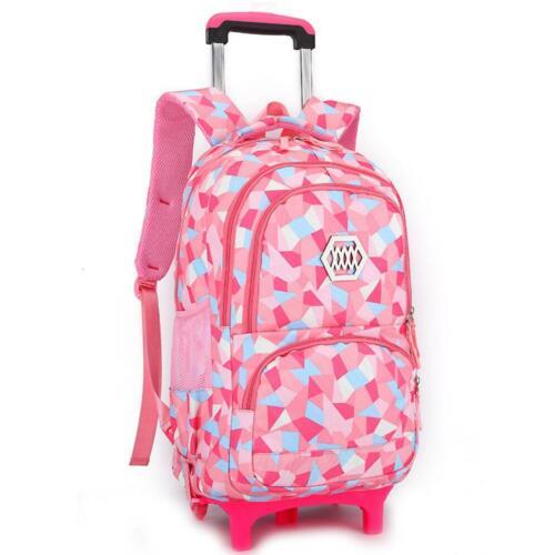Girls Wheeled Trolley School Bag Detachable Rolling Backpack Travel Backpack New