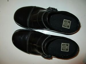 American-Eagle-Clog-Shoes-Black-Slip-on-Loafer-with-Buckle-Womens-Sz-9