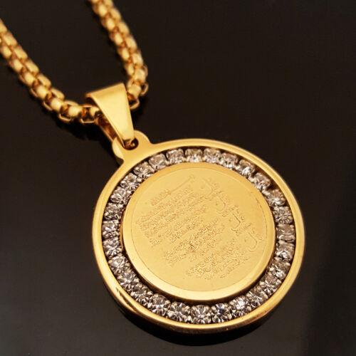 "Gold Stainless Steel Islam Koran CZ Pendant /& 24/"" Round Box Chain Necklace 175G"