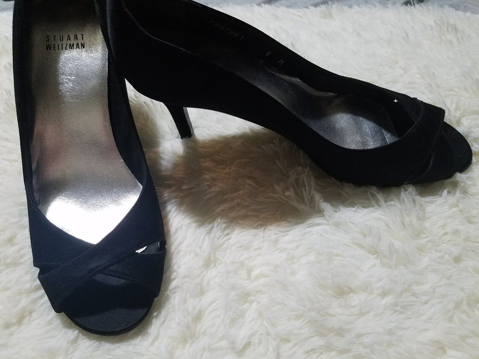 New Stuart Weitzman Black Open-Toe Satin Lace Lace Lace Heels shoes  8 M c0c8c6