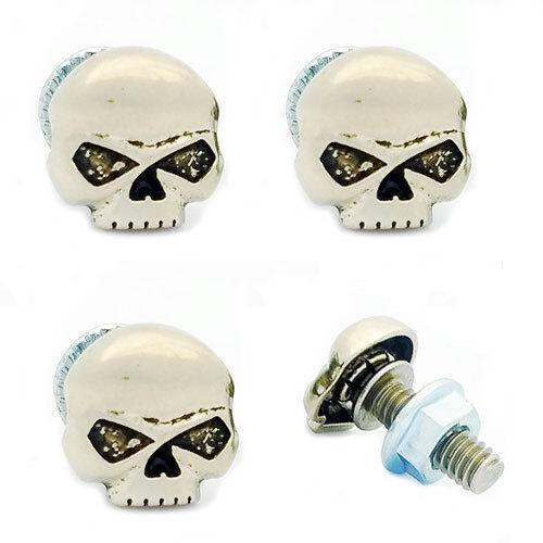 4 Pcs Metal Custom License Plate Frame Tag Bolts Punish/'d G Skull Antique Silver