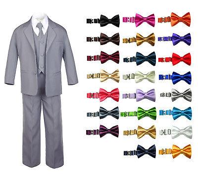 Satin Dark Gray Necktie SM-12 6pc Boy Baby BROWN Formal Tuxedo Suits set with