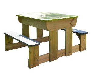 Enfants Pique Nique Table De Jardin Avec Bancs 2 Sable Bols D