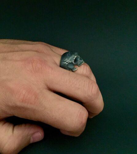 NEW Amazing Skull Ring Sterling Silver 925 Handmade Masonic Biker Harley All Sz