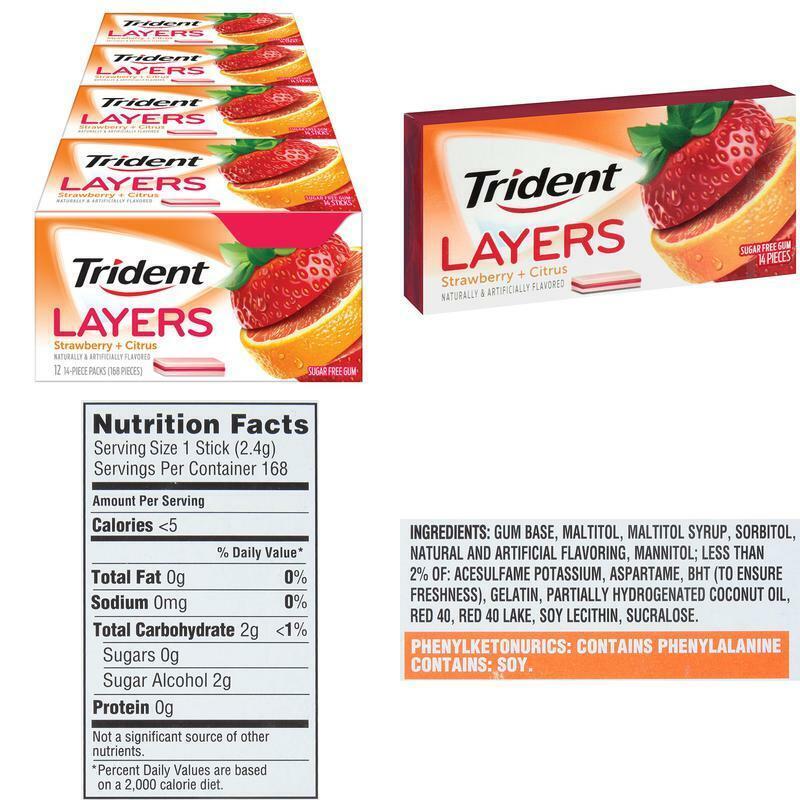 Trident Layers Strawberry + Citrus Sugar Free Gum - 12