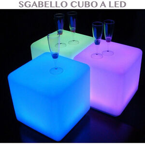 Sgabello bar cubo luminoso a led illuminazione rgb for Arredamento luminoso
