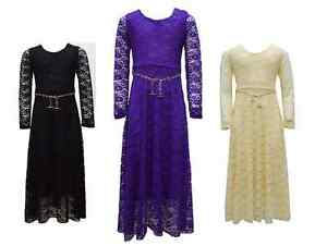 Ladies-Maxi-Dress-Women-Lace-Holiday-Abaya-Islamic-Top-Balted-One-Size-Jilbab