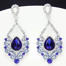 Fashion Jewelry Women Drop Earrings Blue Rhinestone Silver Plated Chandelier