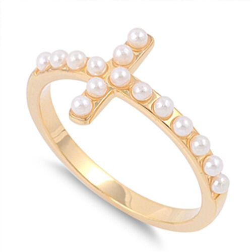 Sideways Cross Simulated Pearl Ring New .925 Sterling Silver Band