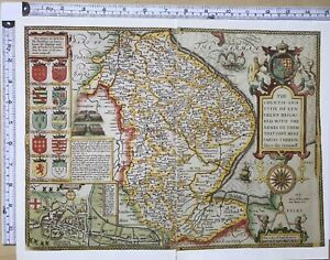 Map Of England 1600.Details About Old Antique Tudor Map Lincolnshire Lincoln England John Speed 1600 S Reprint