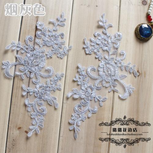 1 pair Floral Bridal Wedding Embroidery Patch Lace Applique Dance for dress Blue