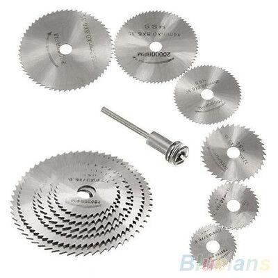 7Pcs Silver Color HSS Rotary Circular Saw Blades Discs Mandrel Cutoff Cutter
