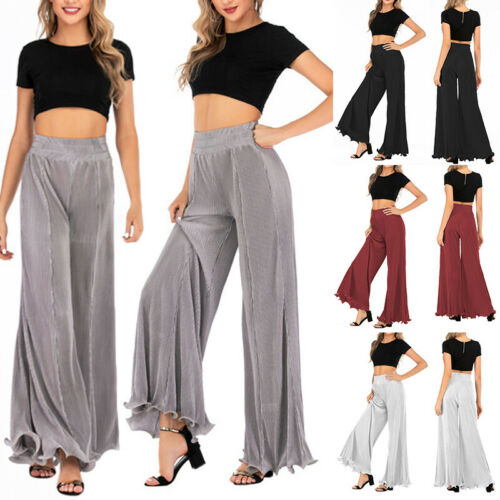 Women Casual Wide Leg Loose Pants Long Pants Elastic Waisted Ruffled Trousers H
