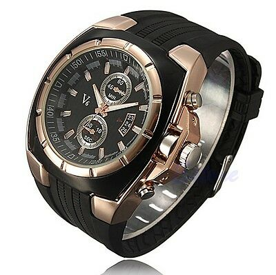 Men's Quartz Analog Stainless Steel Rose Dial Silicone Sports Strap Wrist Watch