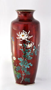 Antique-Japanese-Cloisonne-Enamel-Silver-Vase-In-Ruby-Red-Background-Marked-Ando