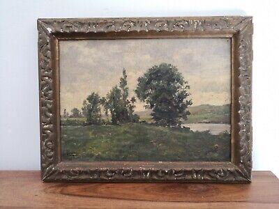 Peintre R. FOUQUES peinture sur toile paysage cadre bois et platre   eBay