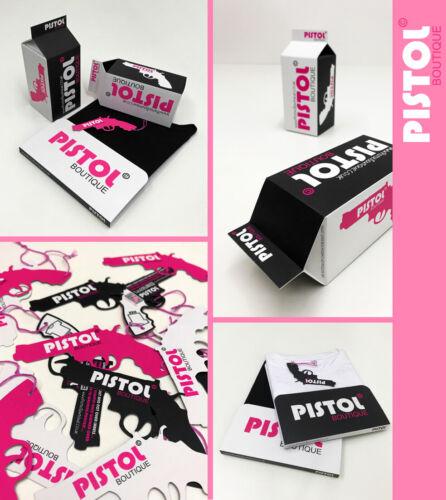 Pistol Boutique Femme Noires Décontractées à encolure ras-du-cou Tattoo Graffiti Mots Fille T-Shirt