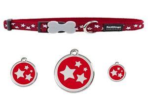 RED-DINGO-ADJUSTABLE-DOG-PUPPY-COLLARS-RED-STAR-amp-DOG-TAG