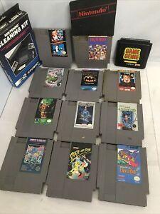 Nintendo-NES-vintage-games-lot-of-11-Sega-Genesis-Game-Genie-Cleaning-Kit