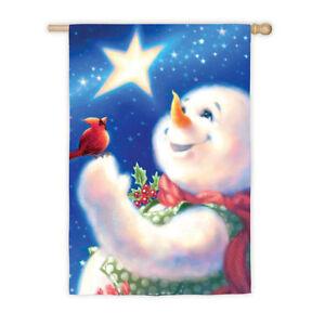 FROSTY-MAGIC-SNOWMAN-Star-Cardinal-29-034-x-43-034-Christmas-Holiday-Large-Banner-Flag
