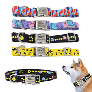 Personalised Text Engraved Dog Cat Pet Puppy Collar Printed Fashion Style 3 Size