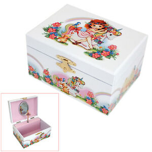GIRLS WHITE MUSICAL UNICORN & RAINBOW JEWELLERY BOX ROTATING BALLERINA FIGURINE