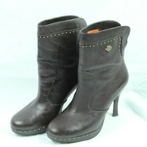 Harley-Davidson-Brown-High-Heel-Ankle-Boots-Pebbled-Leather-Gold-Studded-Size-8