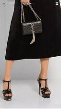 YSL Yves Saint Laurent Tribute Glassy Black Leather Platforms Pumps SZ 37/ 7