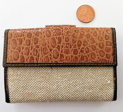 Ladies purse wallet ID card holder snakeskin effect and hessian cloth finish