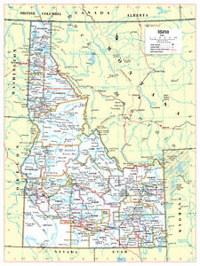 """Cool Owl Maps Idaho State Wall Map Poster - Laminated 24""""x32"""""""