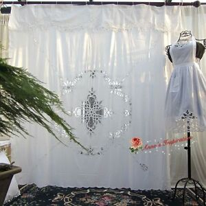 Beautiful Battenburg Lace Shower Curtain BWhiteCotton72