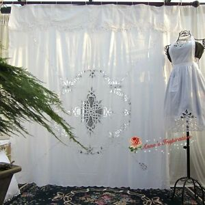 Image Is Loading Beautiful Battenburg Lace Shower Curtain B White Cotton