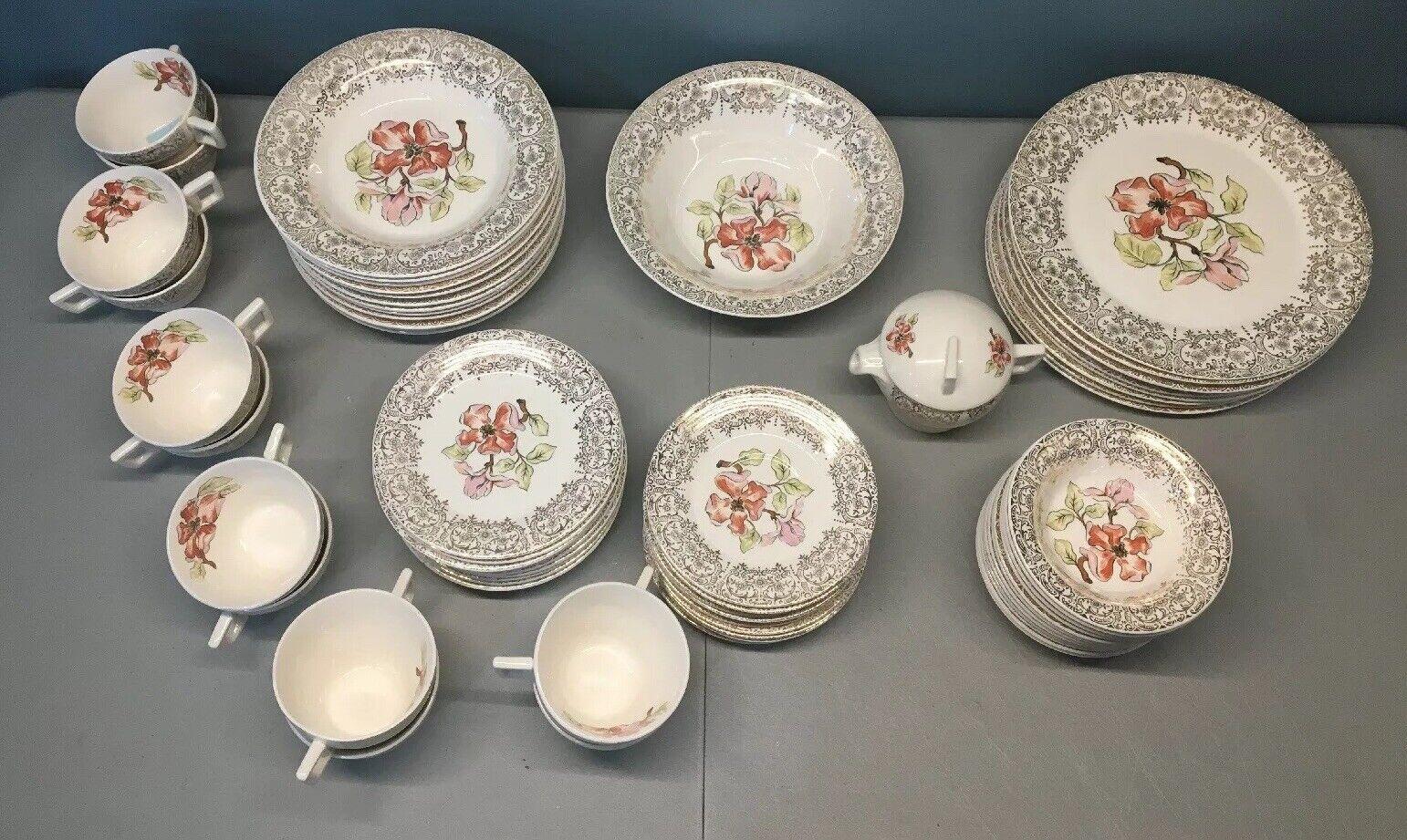Vintage 22K Or Découpé Guild Ware Fantasy Floral Transfert Dinnerware Serv. Pour 12