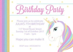 Personalised-Girls-Childrens-Kids-Unicorn-Birthday-Party-Invites-x12-with-envs