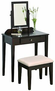 Iris Vanity Table/Stool, Espresso Finish with Beige Seat