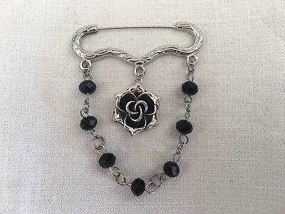Romantisch Victorian Gothic Brosche Pin Rose Silber Schwarz Perle Viktorianisch
