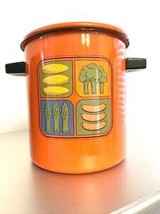 Enamelware Enamel Steamer Pot Cookware Orange Vintage