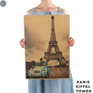 Retro-Kraft-Paper-Poster-Paris-Eiffel-Tower-for-Bar-Cafe-Room-Home-Wall