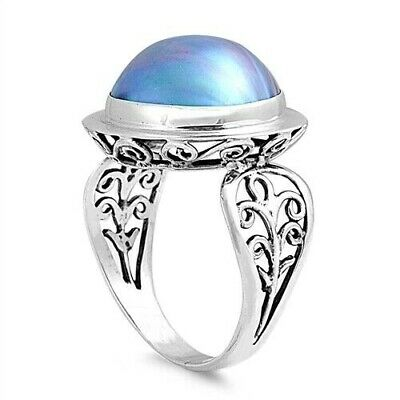Rapture Bali Ring Sterling Silver 925 Genuine Gray Mabe Pearl Face Height 18 Mm Size 6 Excellent In Cushion Effect Pearl