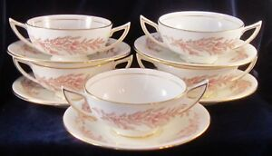 Minton-Bedford-Bone-China-Handled-Cream-Soup-Bowls-and-Saucers-Set-of-5-S669