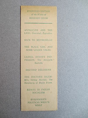 BOOKMARK BERNARD SHAW Constable & Co Publishers Promotional Advertising Books