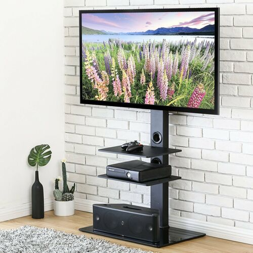 FITUEYES Universal TV Stand with Swivel Mount Height Adjustable for 32-65 Inch