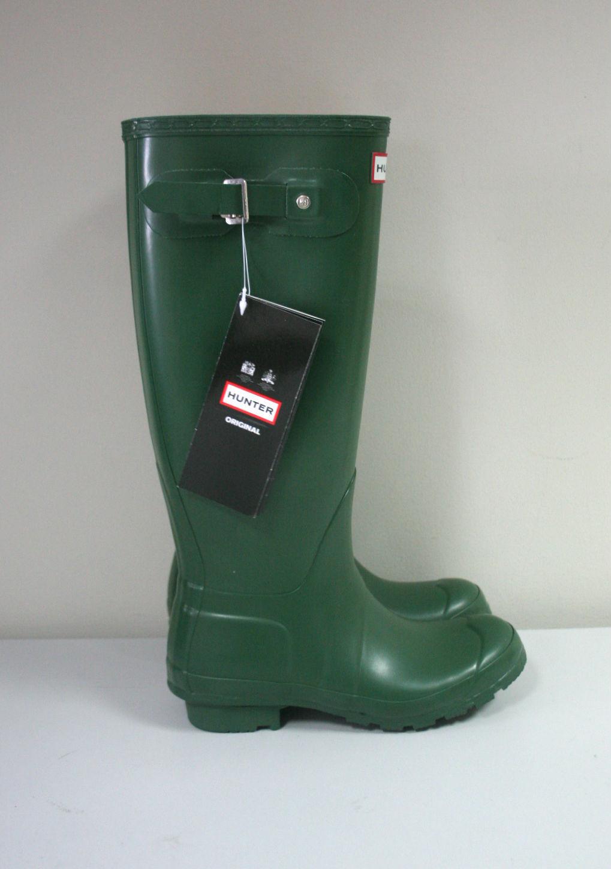 Nuevo-Hunter Original Botas Wellington alto Para Mujer Verde oscuro-Size