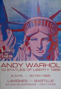 ANDY WARHOL : 10 STATUES OF LIBERTY # AFFICHE ORIGINALE D'EPOQUE # NYC - France - Type: Affiche lithographique Thme: Paysage - France