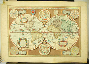 Jodocus-Hondius-amp-Stone-Mariette-Card-of-World-Winds-Constellations-Astronomy