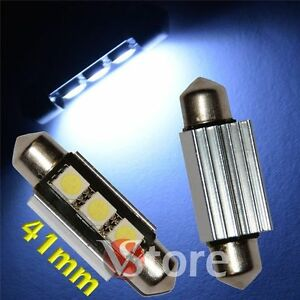 2-LED-Festoon-41mm-3SMD-Canbus-Lampade-BIANCO-Luci-Interno-Targa-Xenon-No-Errore