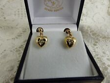 Antique Victorian 9ct 9carat Yellow Gold Diamond Heart Earrings