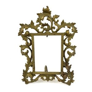 Brass-Art-Nouveau-Victorian-V-Sautie-Style-Antique-Picture-Frame-Ornate-10