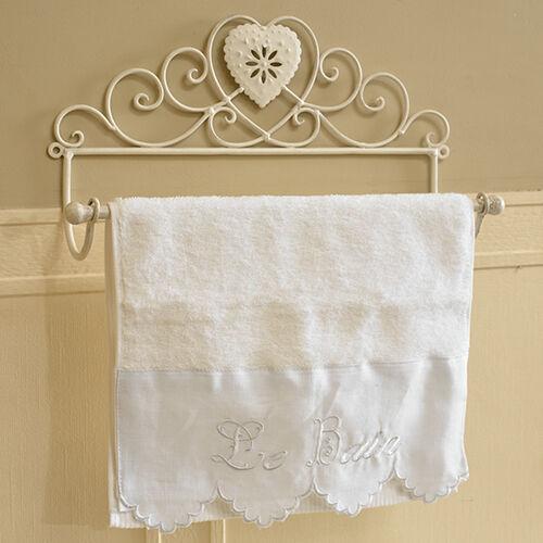 Elfenbein Metall Distressed Handtuchhalter Badezimmer Shabby Vintage Chic