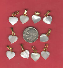 10 Lovely Carved MOP Mother of Pearl Heart Pendant Charm Necklace Ready A2